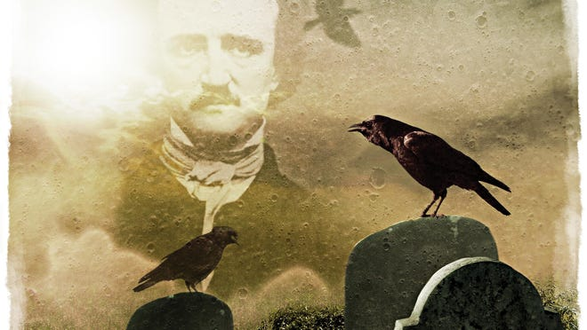 An illustration of the Poe-inspired tombstone.
