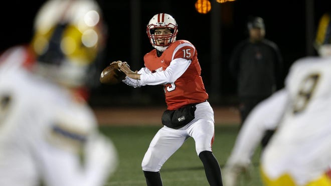 Kimberly's Danny Vanden Boom looks to fire a pass in game action for the Papermakers. Vanden Boom has committed to play football at the University of Wisconsin.