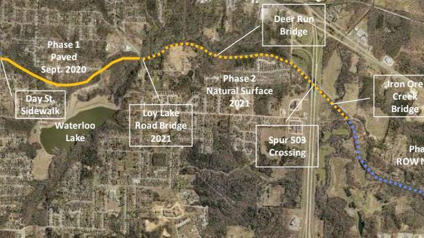 A map of Denison shows the proposed route of the Katy Trail through Denison. The city is pursuing grant funding through the Texas Department of Transportation for the project.