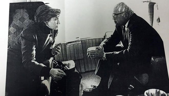 """According to the Bernie Sanders campaign, Hillary Clinton autographed this photo, taken on a flight to a health care forum at Dartmouth University on Dec. 7, 1993, along with a note saying, """"To Bernie Sanders, with thanks for your commitment to real health care access for all Americans and best wishes"""" - Hillary Rodham Clinton, 1993"""