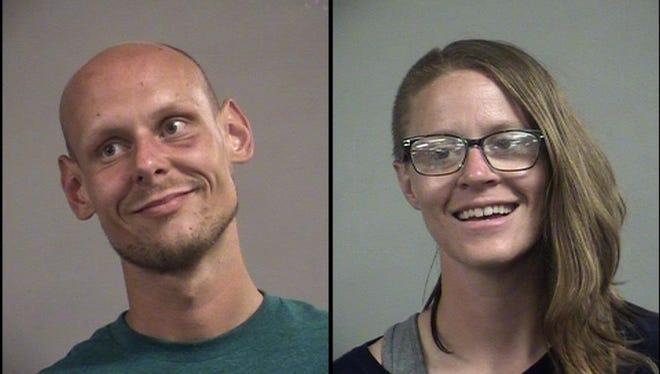 Brandon Scott, left, and Elizabeth Boccieri, right, are accused of robbing the Hampton Inn Louisville Downtown.