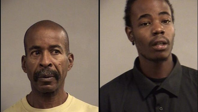 Kenneth Foster, left, and Daivion Walker, right, are accused of attempting to steal nearly $100,000 from a title loan company.