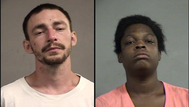 Jesse Martin, left, and Jessica Ballanger, right, are accused of violently robbing a man on Monday.