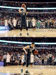 MSU's Gavin Schilling shoots and then reacts after missing a technical free throw against Maryland in the Big Ten Tournament on Saturday in Chicago.