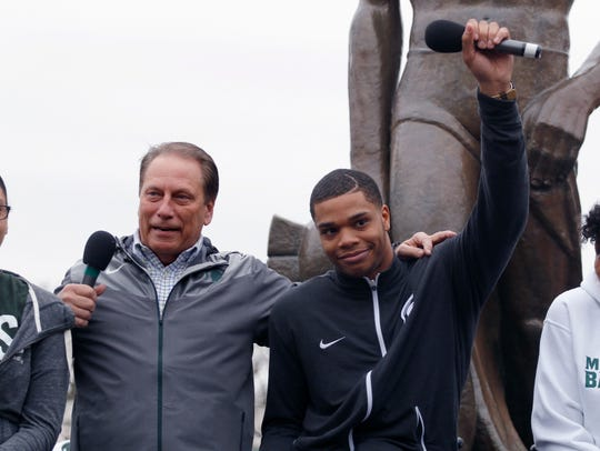 Last April, as the school and athletic department dealt with turmoil, Bridges sat in front of Sparty and announced he was coming back for his sophomore year. It was a boost to the psyche of the campus and community.
