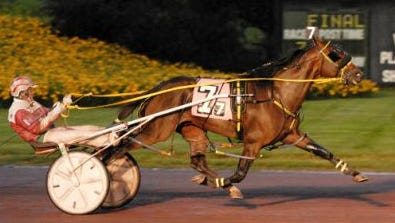 Luck Be Withyou, shown here racing at Mohegan Sun Pocono, drew the rail while his chief competition, Mel Mara, has post three in Saturday's Kane Memorial Pace at Batavia Downs.