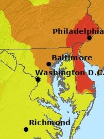 """This map shows most of Delaware was in a """"Code Red"""" on May 26 due to high levels of air pollution."""