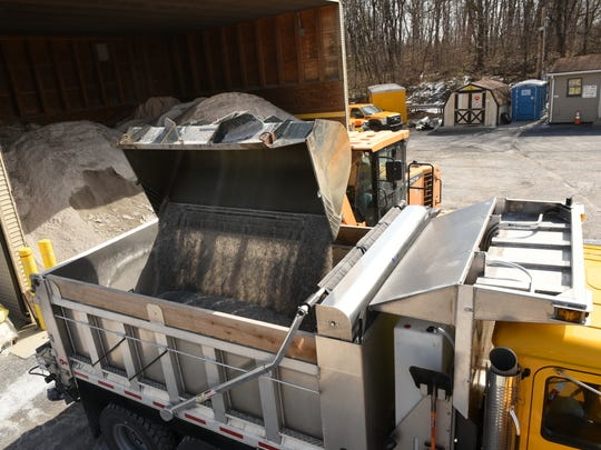 PennDOT trucks are being loaded with salt on Monday, March 13, 2017 at the Marion yard.  Winter Storm Stella will bring heavy snow and strong winds to the region.