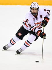 St. Cloud State's David Morley cuts in to the goal