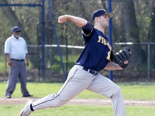Parker Hendershot of Tioga delivers a pitch against Elmira Notre Dame on April 21 in Southport.