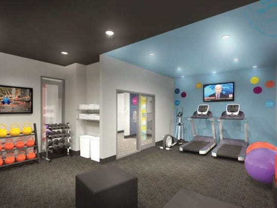 The fitness area under the Tru by Hilton concept.