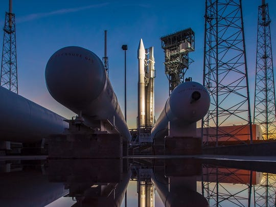 Atlas V with the SBIRS GEO-3 missile detection satellite stands on the pad at Launch Complex 41 in January 2017.