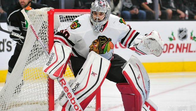 Chicago Blackhawks goalie Corey Crawford (50) defends the goal against the Los Angeles Kings during the first period at Staples Center.