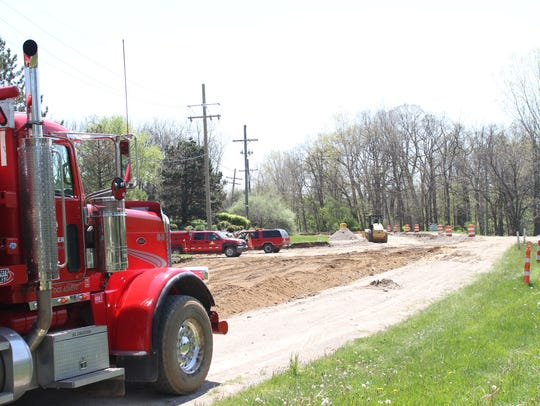Construction of a single-lane roundabout is underway