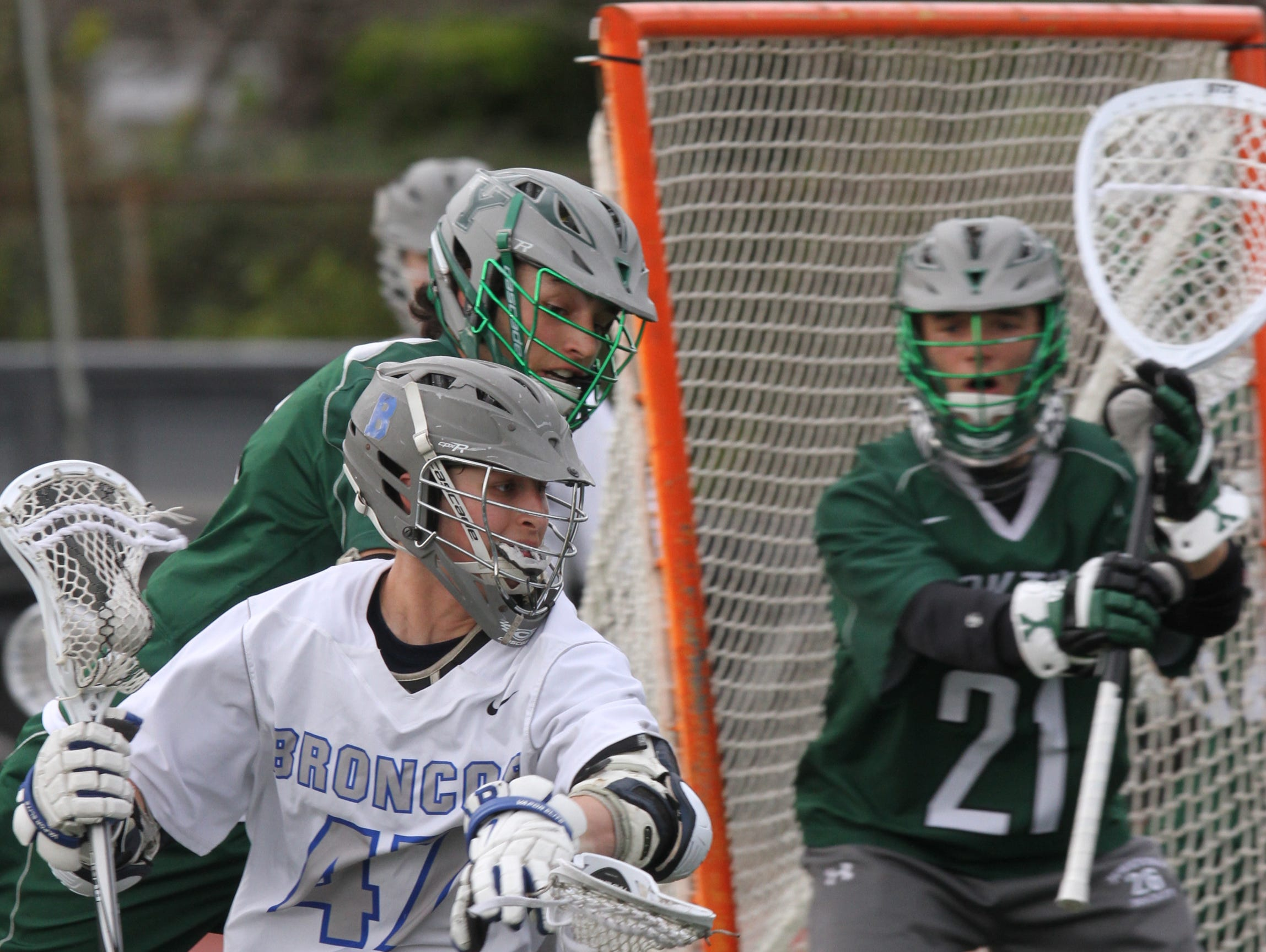Yorktown defeats Bronxville 9-5 during boys lacrosse game at Bronxville High School on April 7, 2016.