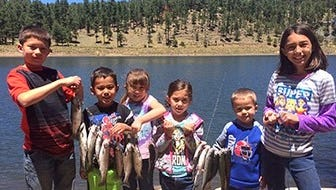 Matthew Portillo, 9, Isaiah Medina, 5, Andrea Medina 7, Mia Portillo, 6, Alejandro Medina, 3 and Anabelle Portillo 10, of Clint, Texas, caught 15 rainbow trout May 20 at Alto Lake. For that feat, they were dubbed Catch of the Week by the New Mexico Game and Fish Department, which stocks lakes in the state. The young anglers were using garlic PowerBait and pinched night crawlers.