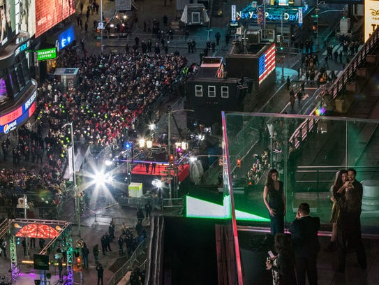 Revelers take part in the New Year's Eve celebration