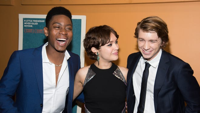"R.J. Cyler, Olivia Cooke and Thomas Mann attend the ""Me And Earl And The Dying Girl"" New York premiere at Sunshine Landmark on June 10, 2015 in New York."