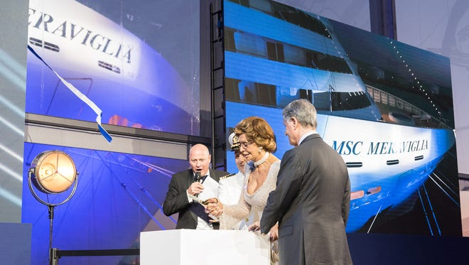 Famed Italian actress Sophia Loren served as godmother at a christening ceremony for MSC Cruises' new MSC Meraviglia in Le Havre, France on June 3, 2017.
