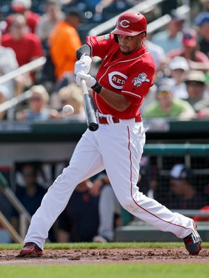 Cincinnati Reds center fielder Billy Hamilton (6) takes a swing in the bottom of the first inning of the MLB Spring Training game between the Cleveland Indians and the Cincinnati Reds at Goodyear Ballpark in Goodyear, Ariz., on Wednesday, March 2, 2016. The Reds and Indians tied, 4-4.