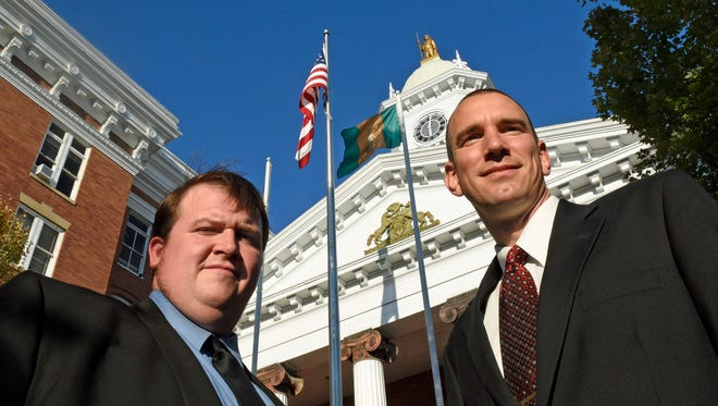 Erich Hawbaker, left,  joins Chambersburg Mayor Darren Brown at Memorial Square on Tuesday, September 13, 2016. The two members of the Franklin County Republican Committee resigned from the organization so they could endorse and campaign for Art Halvorson. candidate for United States Representative, Pa. 9th District.