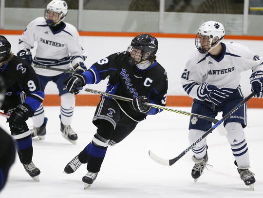 Brockport's Andrew Harley during a game against Pittsford on Saturday. The top scorer in Section V, Harley had two assists in a 4-3 loss.