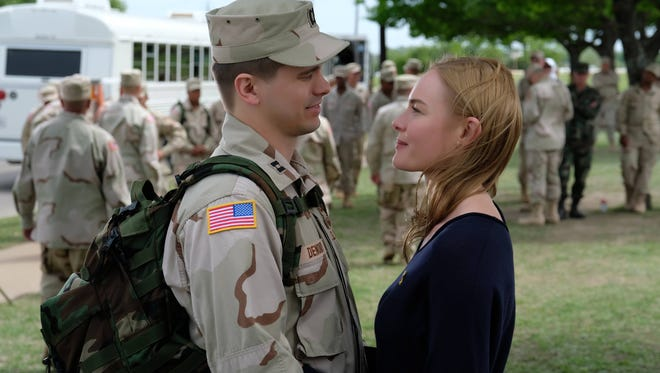 Jason Ritter portrays Capt. Troy Denomy with Kate Bosworth as Gina Denomy on the set of 'The Long Road Home' at U.S. Military post, Fort Hood, Killeen, Texas.