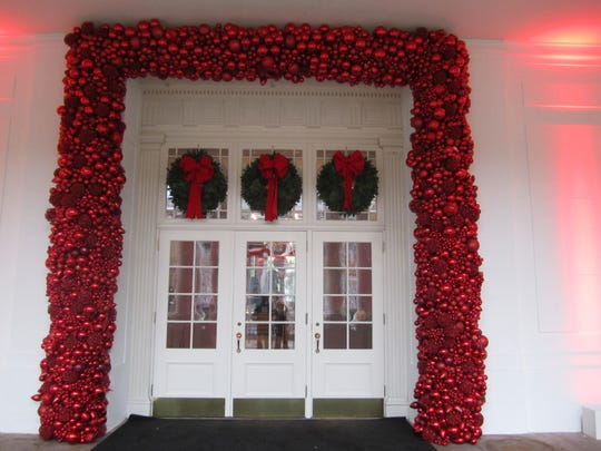 The entrance to the East Room at the White House, following decorations for the holidays.