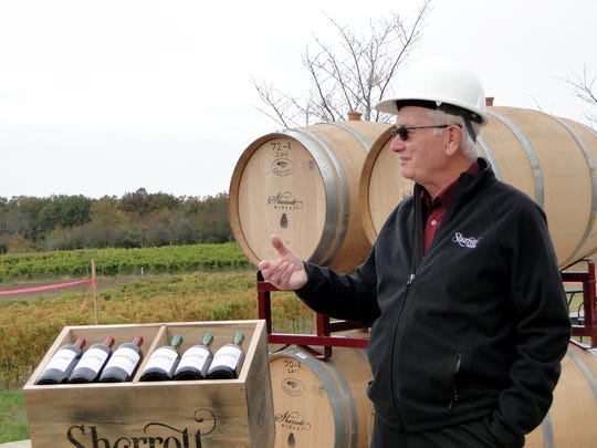 Larry Sharrott Sr. welcomes dignitaries, family and friends to the groundbreaking of the Sharrott Winery expansion.