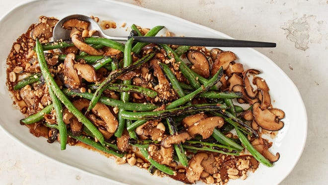"""This green bean dish with mushrooms and peanuts is from """"The Atlas Cookbook."""""""