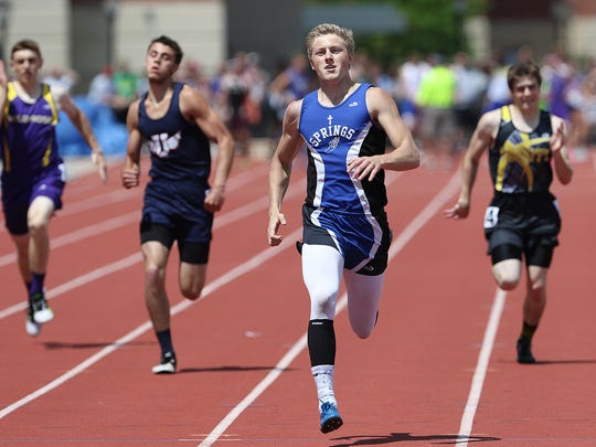 St. Mary's Springs' Sam Spranger races to the title in the Division 3 400 meters at the WIAA State Track and Field Meet in La Crosse on Saturday.