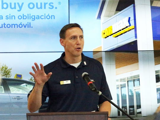 Bill Nash, president of CarMax Inc., gives remarks at the grand opening last week of the company's used car store at 1300 Pendale Road in East El Paso.