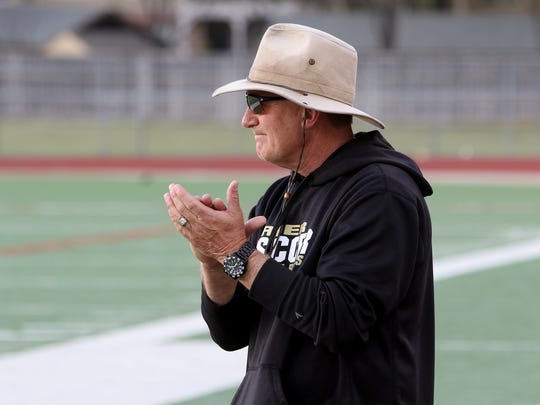 Rider head girls soccer coach Carl Wiersema cheers on his team as they take on Colleyville Heritage Thursday, April 5, 2018, in the Region I-5A regional quarterfinal at Colleyville Heritage High School in Grapevine.