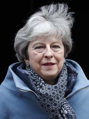 Britain's Prime Minister Theresa May leaves 10 Downing Street for the House of Commons for her weekly Prime Minister's Questions in London, Jan. 23, 2019.