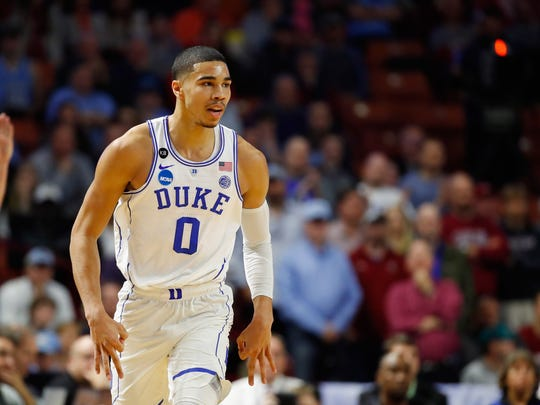 GREENVILLE, SC - MARCH 19:  Jayson Tatum #0 of the Duke Blue Devils reacts in the first half against the South Carolina Gamecocks during the second round of the 2017 NCAA Men's Basketball Tournament at Bon Secours Wellness Arena on March 19, 2017 in Greenville, South Carolina.  (Photo by Gregory Shamus/Getty Images)