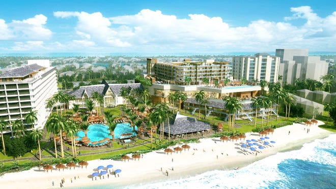 An artist's rendering of the Marco Island Marriott improvements as seen from the Gulf beach.