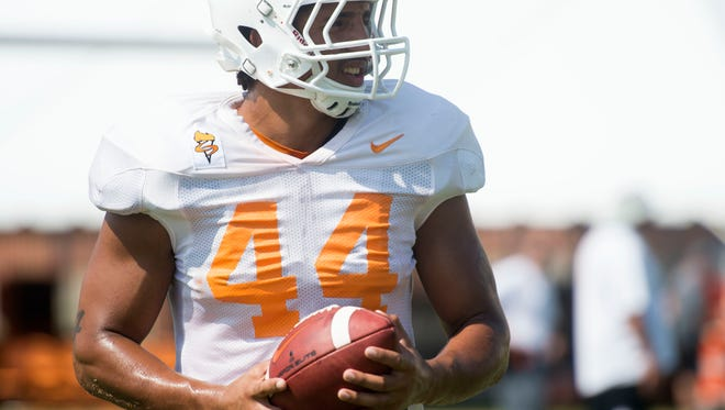Tennessee tight end Jakob Johnson (44) at practice on Sunday, August 6, 2017.