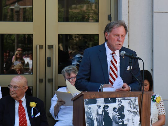 Madison County Mayor Jimmy Harris speaks May 25 as the Sue Shelton White monument is unveiled at City Hall.