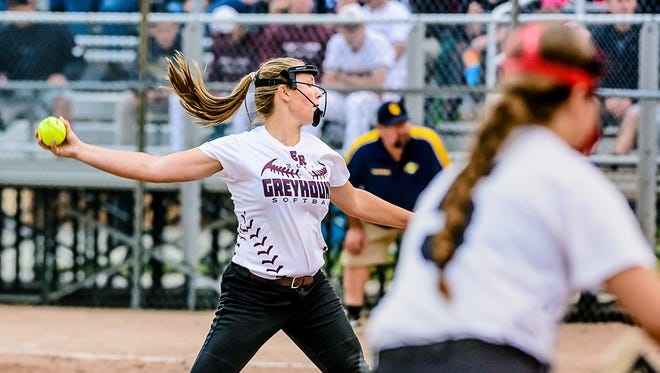 Grace Lehto of Eaton Rapids pitches to a Grand Ledge batter during their Softball Classic championship game Monday May 22, 2017 at Ranney Park in Lansing. Lehto would shut-out the Comets' for their first loss on the season.