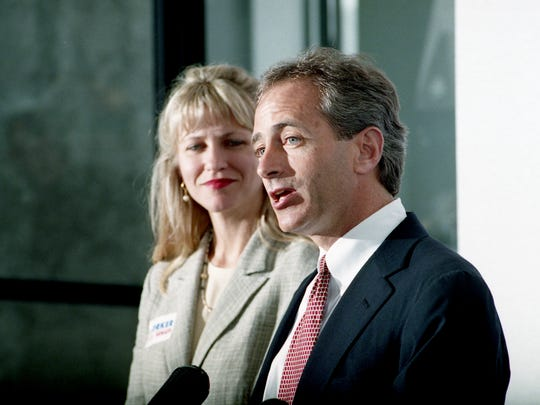 May 18, 1994: Republican Bob Corker of Chattanooga officially enters the race for the U.S. seat of Democrat Jim Sasser as his wife, Elizabeth, looks on in Nashville.