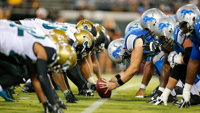 A view of the Detroit Lions' offensive line on Aug. 28, 2015.