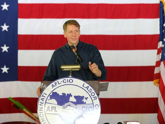 Richard Cordray speaks during the 2017 Cincinnati AFL-CIO Labor Day Picnic at Coney Island.