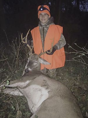 Briley Ruff, 14. harvested his first buck, this 153 pounder in Wilson County, during the Young Sportsman Hunt last weekend.