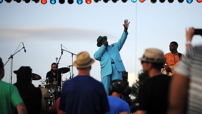 "Joseph ""Smokey"" Holman, of the band Tweed Funk, performs during JazzFest 2015 on Thursday at Yankton Trail Park in Sioux Falls. View more photos at ARGUSLEADER.COM."