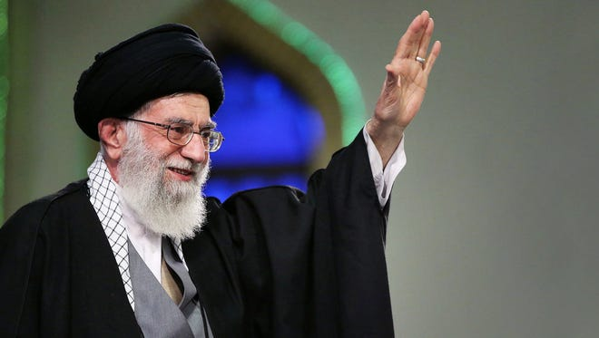 A handout picture made available by the official website of the Iranian Supreme Leader shows the Supreme Leader, Ayatollah Ali Khamenei, greeting crowds during a ceremony in Tehran, Iran, 09 April 2015. The Supreme Leader said Iran will move forward with a nuclear deal only if international sanctions were lifted completely at the start of implementation.