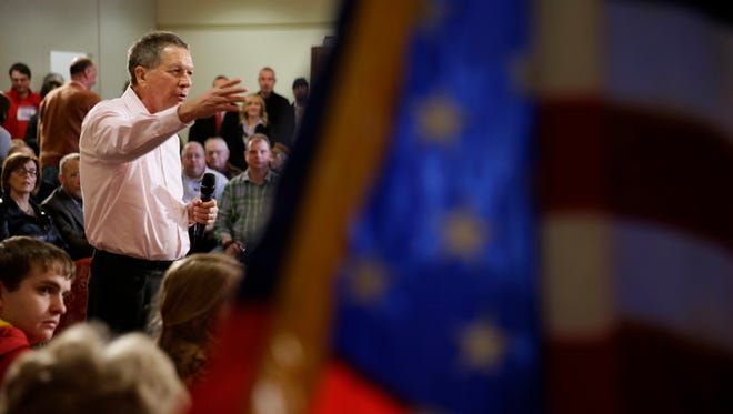 John Kasich speaks during a campaign stop at the National Czech & Slovak Museum and Library on Jan. 29, 2016, in Cedar Rapids, Iowa.