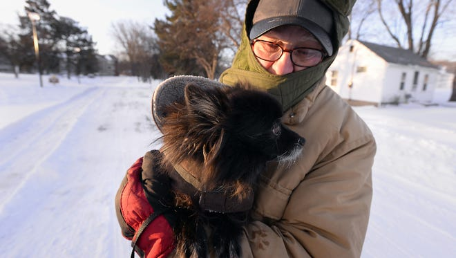 Rod Sanford/Lansing State Journal Ron Preston takes his dog Baby Girl out for a cold early morning walk in Lansing Monday after the area's heavy snowstorms. Ron Preston takes his dog Baby Girl out for a cold early morning walk  in Lansing Monday Feb. 2, 2015 after the area's heavy snowstorms.