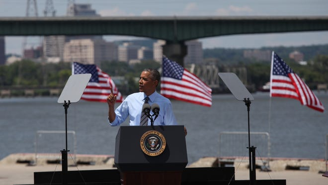 President Obama speaks at the Port of Wilmington.