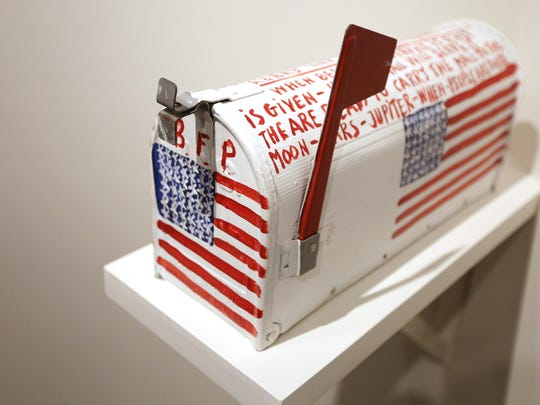 """""""All American Jumbo Airmail"""" by Alabama artist Benjamin F. Perkins is on display on at the Hallie Ford Museum of Art' """"Strange and Wonderful"""" exhibit."""
