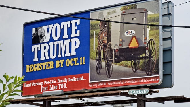 A group of Republican strategists is using billboards to reach potential Donald Trump supporters in Amish communities.